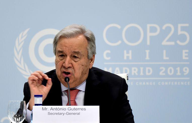 Secretaris-generaal van de VN Antonio Guterres opent de klimaattop in Madrid.