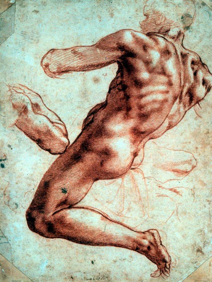 Michelangelo, zittend mannelijk naakt, naar links gekeerd (1511).