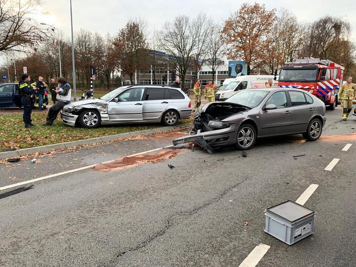 Ongeval op de kruising van de Kennedylaan met de Onze Lieve Vrouwestraat in Eindhoven.
