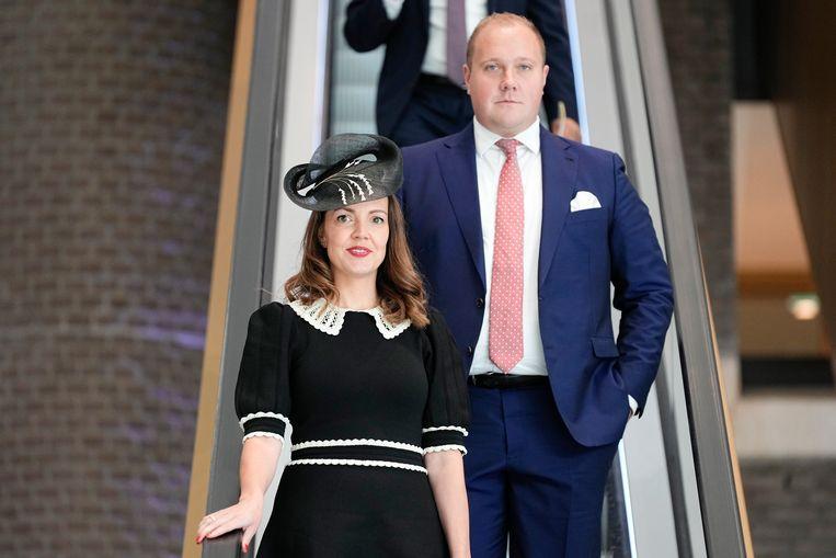 Bente Becker (VVD) kiest op Prinsjesdag voor een zwart-witte hoed. Beeld Hollandse Hoogte /  ANP