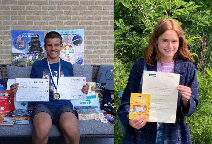 Rune en Lizanne pronken met hun diploma's.