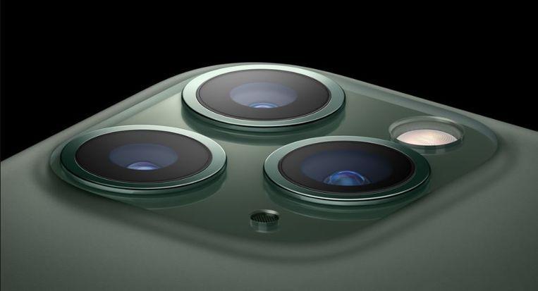 De drie camera's op de achterkant van de nieuwe iPhone 11 Pro. Beeld Apple