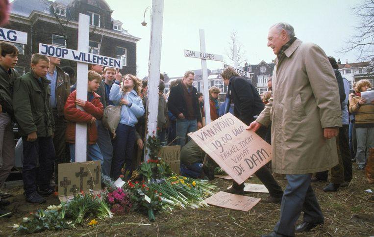 Een demonstratie in Amsterdam in 1982 na de dood van de IKON-journalisten. Beeld ANP