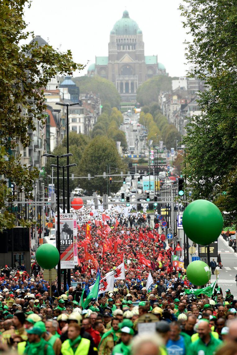Vakbondsbetoging in Brussel. Beeld Photo News