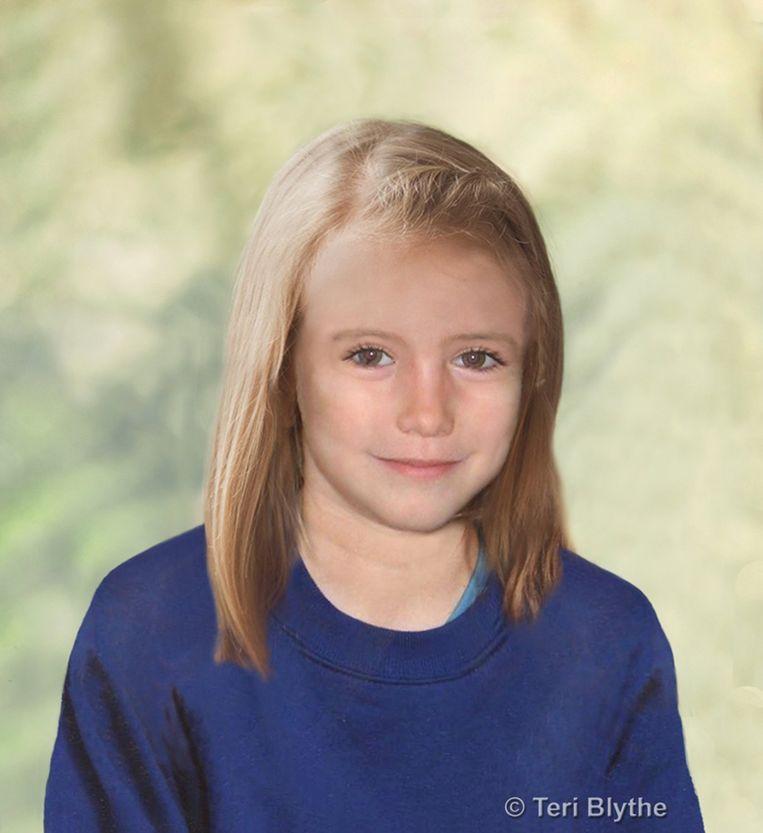 Maddie McCann zoals ze er volgens voorspellingen uitgezien zou hebben op negenjarige leeftijd Beeld EPA