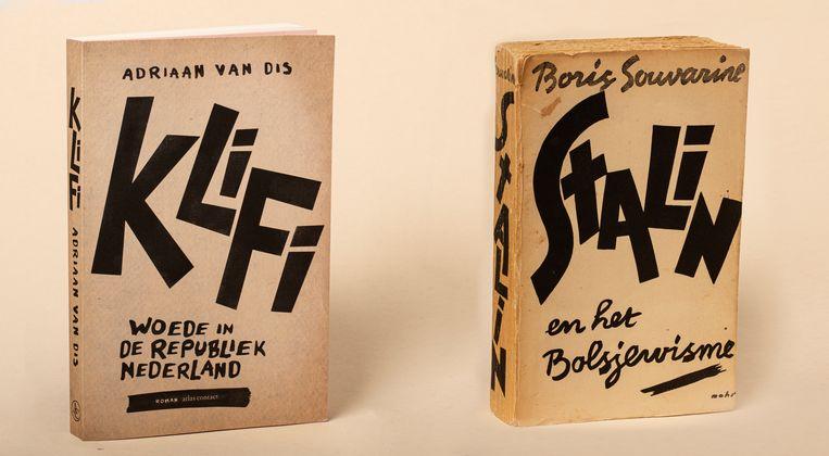 Adriaan van Dis: Klifi (2021), omslag Nanja Toebak, op opzettelijk vergeeld lijkend papier. Boris Souvarine: Stalin en het Bolsjewisme (1940), omslag Ben Mohr.   Beeld Studio V