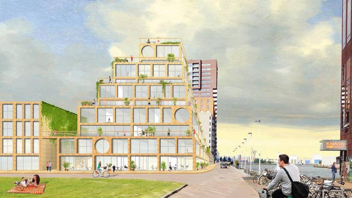 Artist impression Rotterdamse toren van Babel.