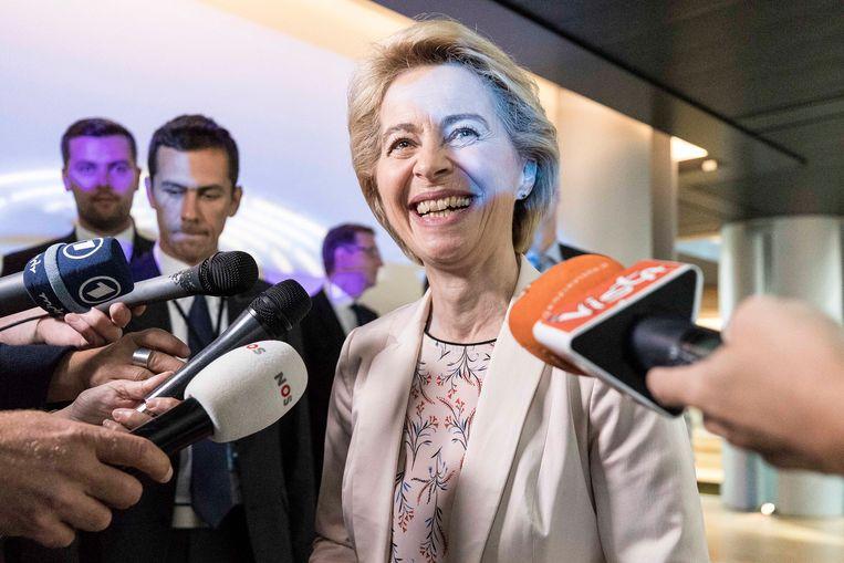 Ursula von der Leyen in het Europees Parlement in Straatsburg. Beeld AP