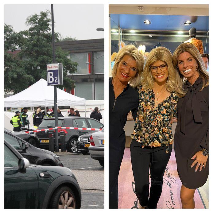 Links: politiemensen op de parkeerplaats van ZGT in Almelo, waar een dood persoon is aangetroffen. Rechts: Debby van der Zande, de vermomde actrice Elise Schaap en Saskia Bouwmeester.