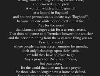 """Gedicht van blogster gaat wereld rond: """"Bid niet voor Parijs, maar voor de wereld"""""""