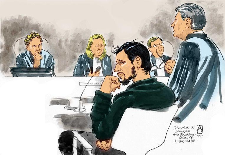 Jawed S.  tijdens een eerdere zitting.