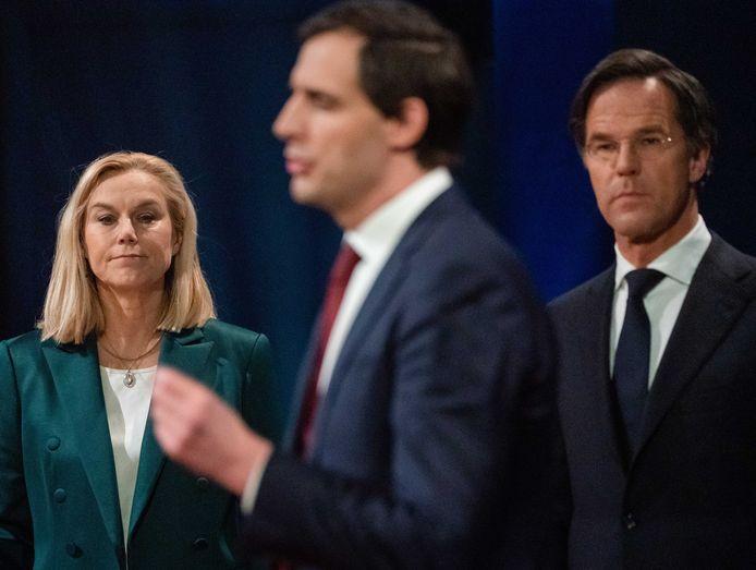 Sigrid Kaag (D66), Wopke Hoekstra (CDA) en Mark Rutte (VVD) tijdens het verkiezingsdebat van EenVandaag.