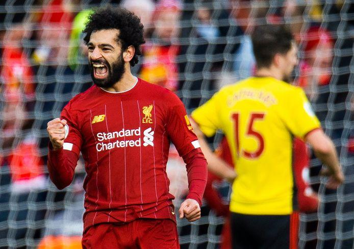 De vreugde spat van het gezicht van Mo Salah na de 1-0.