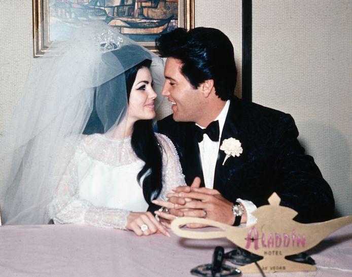 Elvis en Priscilla trouwden in 1967 in het Aladdin Hotel in Las Vegas.