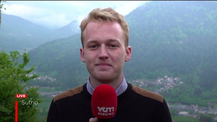 Maxim Goethals in de Giro d'Italia in het VTM nieuws van 22/05/2021 om 19u.