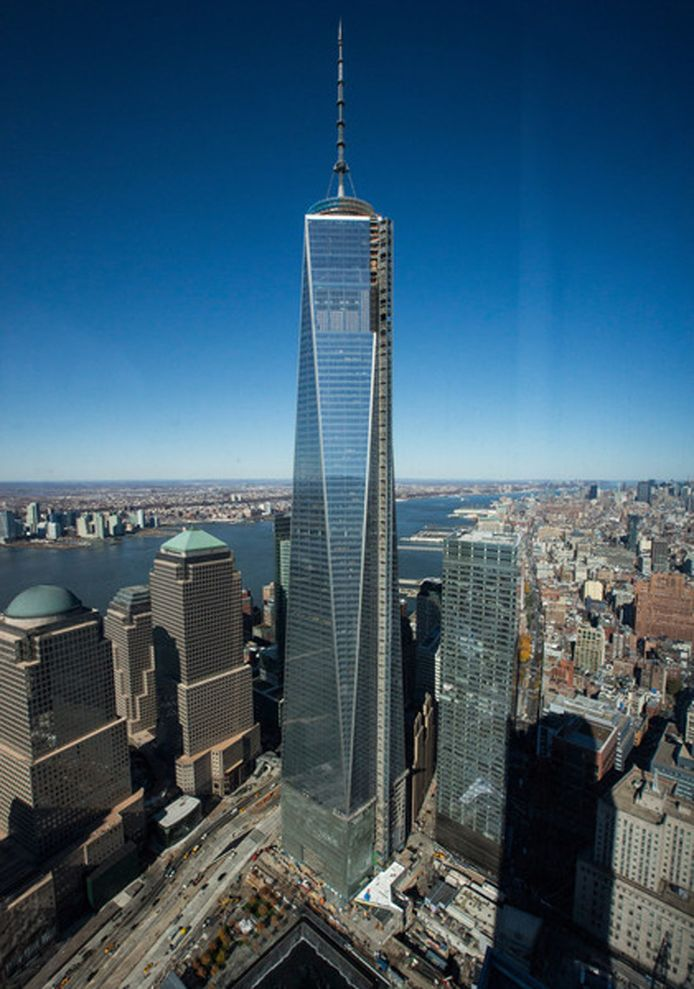 Het One World Trade Center vormt het middelpunt van het nieuwe WTC in New York. De toren is ook bekend als de Freedom Tower.