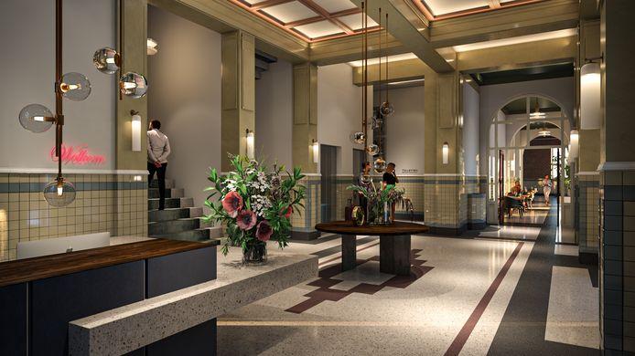 Impressie van het interieur van het hotel in het Opus-gebouw.