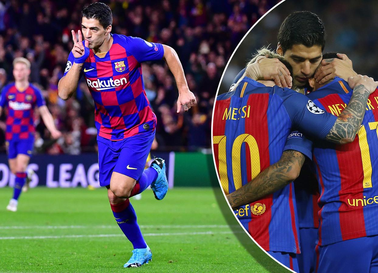 Luis Suárez. Inzetje: Suárez in 2013 als middelpuntje van een feestje met Messi en Neymar.
