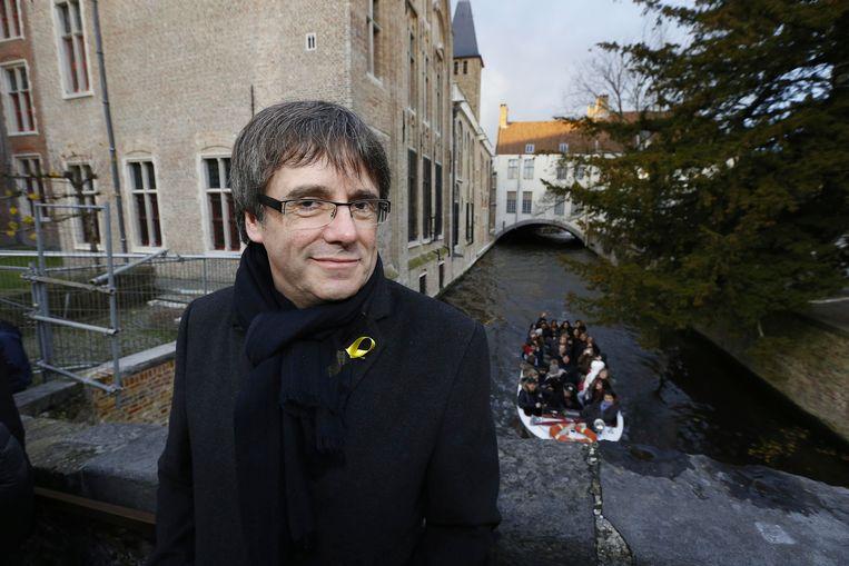Carles Puigdemont tijdens een bezoek aan Brugge