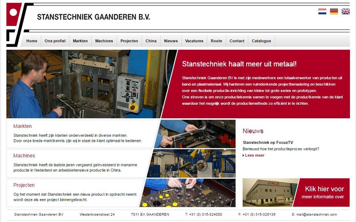 De website van Stanstechniek Gaanderen.