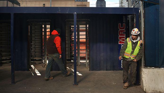 Een bouwvakker op Ground Zero.