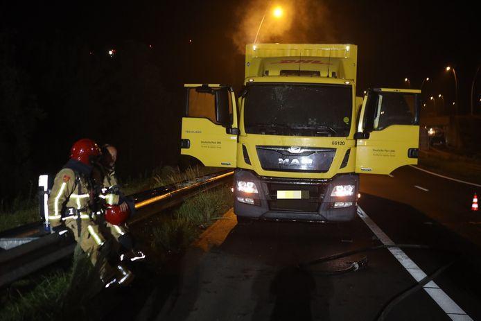 De vrachtwagen bevond zich op de A50 bij Best.