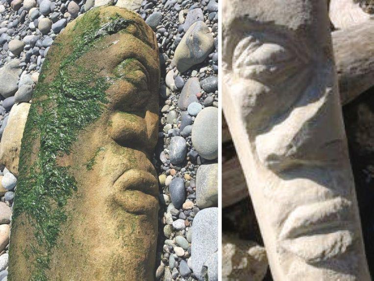 Links het beeld zoals het op het strand is gevonden, rechts een foto uit de werkplaats van de kunstenaar.  Beeld
