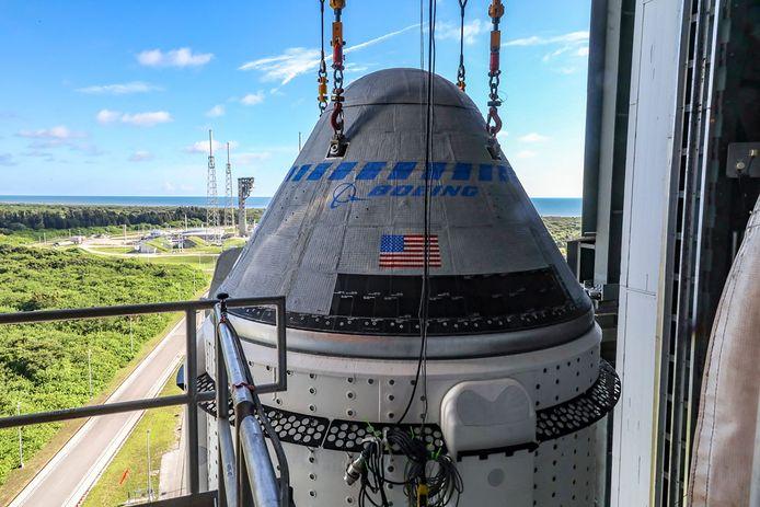 Het Boeing CST-100 Starliner-vaartuig op een United Launch Alliance Atlas V-raket op Cape Canaveral in Florida. Archiefbeeld.