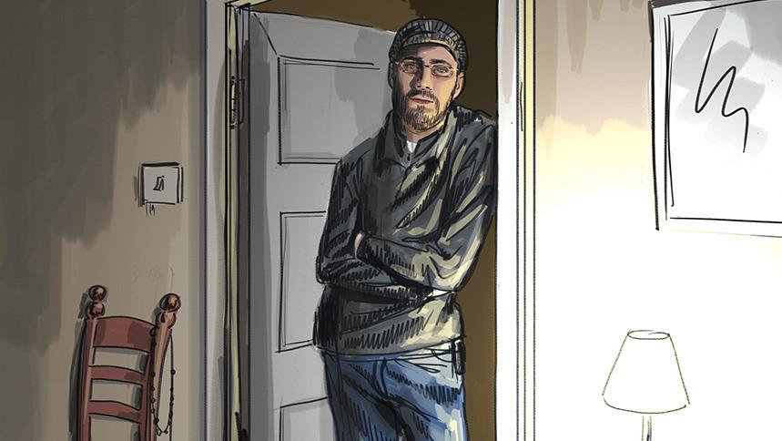 Illustratie: Bart van U. in een woonhuis. De moordverdachte stormde een keer de kamer van Sophie in om een schilderij van de muur te halen.