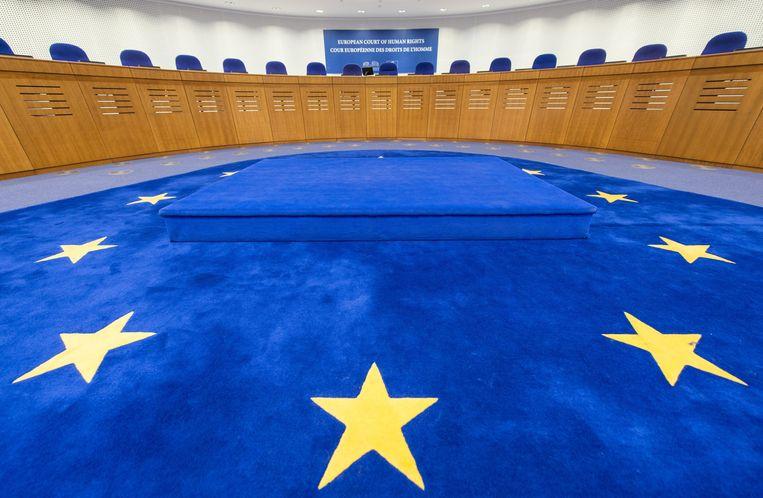 De zittingszaal van het Europees Hof voor de Rechten van de Mens in Straatsburg. Beeld EPA