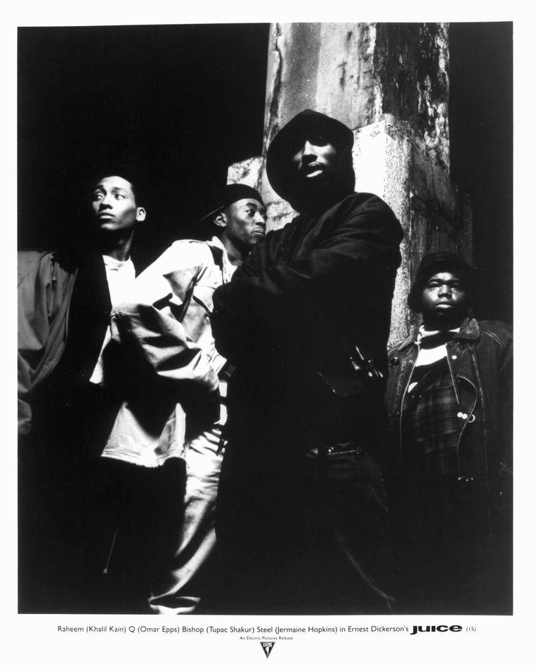 Khalil Kain, Omar Epps, Tupac Shakur, and Jermaine Hopkins in Juice (1992). Beeld Getty