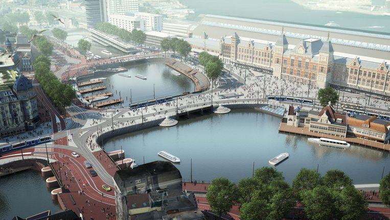 Een deel van de Prins Hendrikkade verdwijnt, ten gunste van het Open Havenfront. Beeld Gemeente Amsterdam