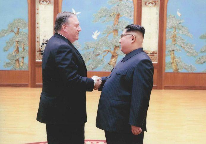 Mike Pompeo tijdens zijn ontmoeting met Kim Jong-un.