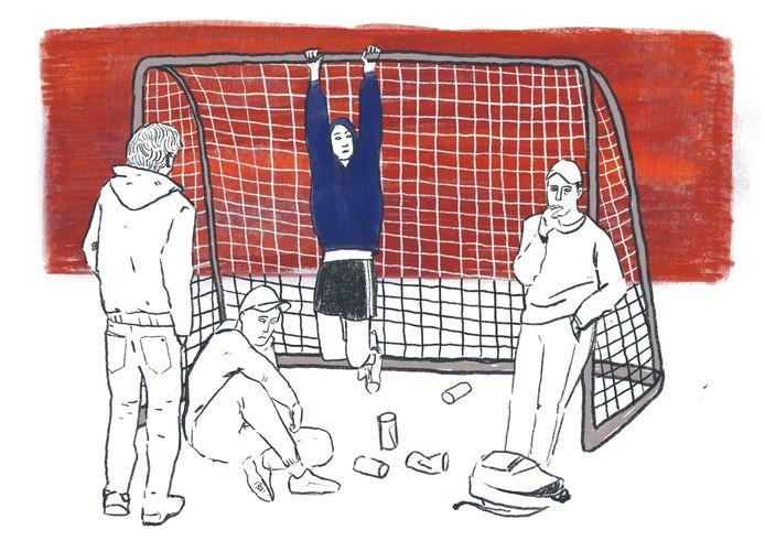 Illustratie hangjeugd op het voetbalveld.