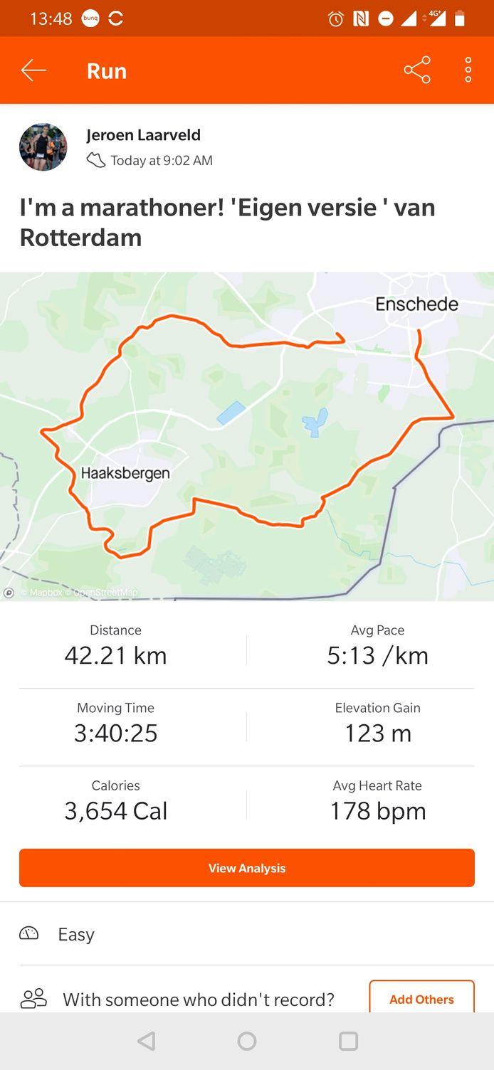 De route die Jeroen Laarveld alleen aflegde om zijn doel te behalen.