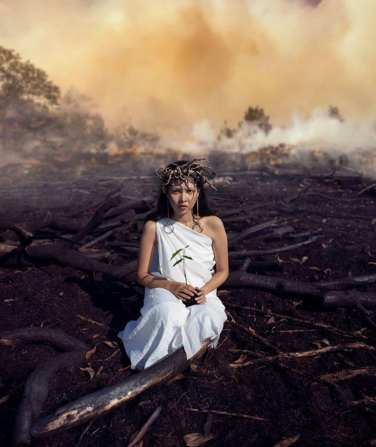 In de opera staat de levensboom Kayo' Aya' symbool voor de natuur van Kalimantan. Die wordt bedreigd door de aanleg van oliepalmplantages. Daarvoor worden jaarlijks duizenden hectares regenwoud in de as gelegd.  Beeld Rendy Mahardhika