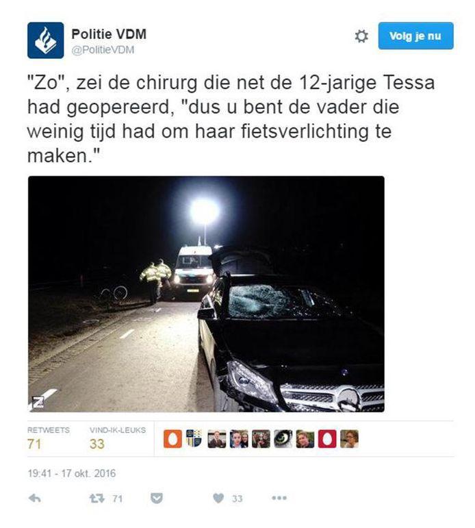 De tweet van de politie