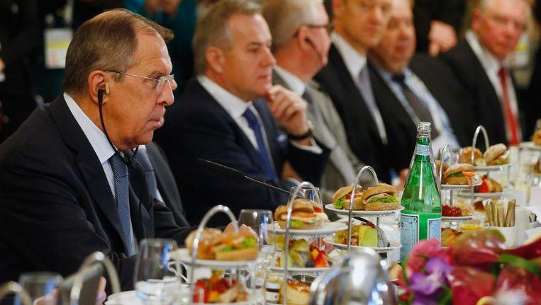 Sergej Lavrov, minister van Buitenlandse Zaken van Rusland in München. Beeld reuters