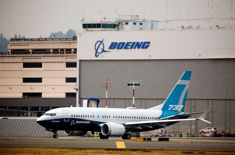 Een Boeing 737 Max op de luchthaven van het bedrijf nabij Seattle. Beeld AFP