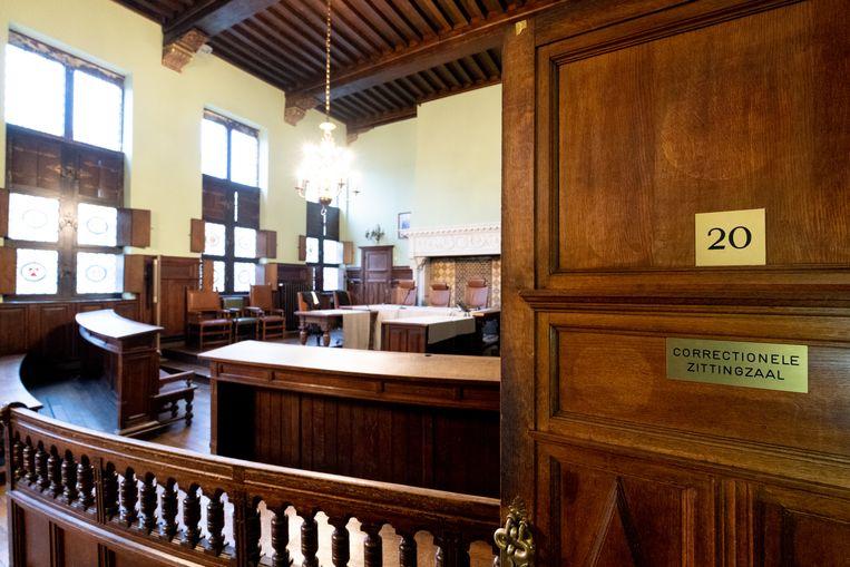 De correctionele zittingszaal in de rechtbank van Mechelen.