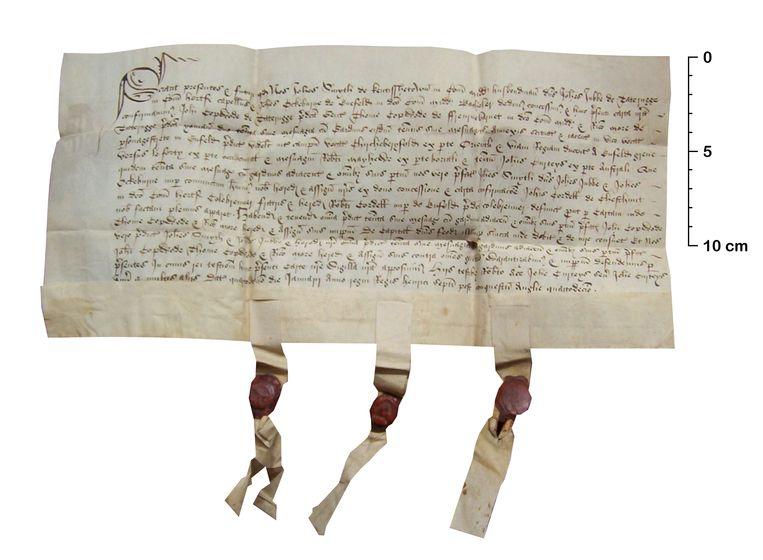 Een Brits eigendomsdocument uit 1499 op perkament van schapenhuid. Beeld Dave Lee