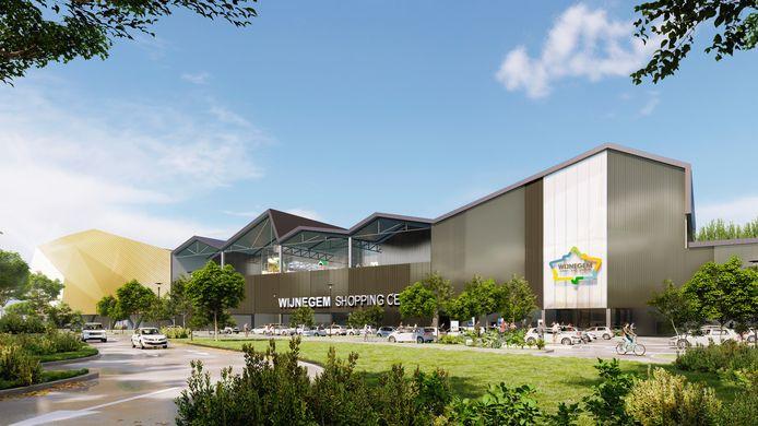 Het Wijnegemse shopping center van de toekomst. De uitbreiding zou zich situeren aan de westzijde van de site, aan de Krijgsbaan en Turnhoutsebaan, boven een deel van het bestaande gebouw en de gelijkvloerse parking.