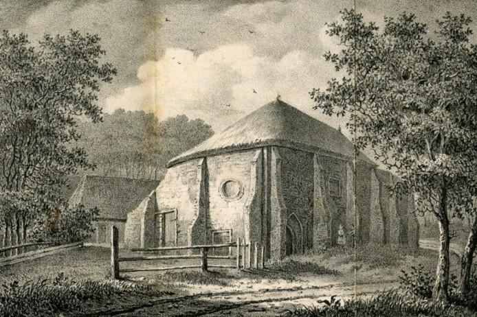 Overblijfselen van het klooster Bethlehem bij Elkerzee midden 19e eeuw. Steendruk H.J. Backer, 1839.