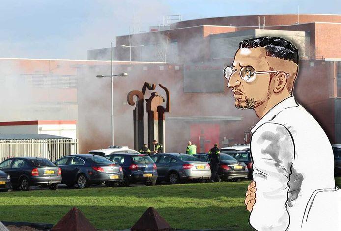 Er ontsnapt rook uit de gevangenis vanwege de rookbommen bij de ontsnappingspoging van Omar L.