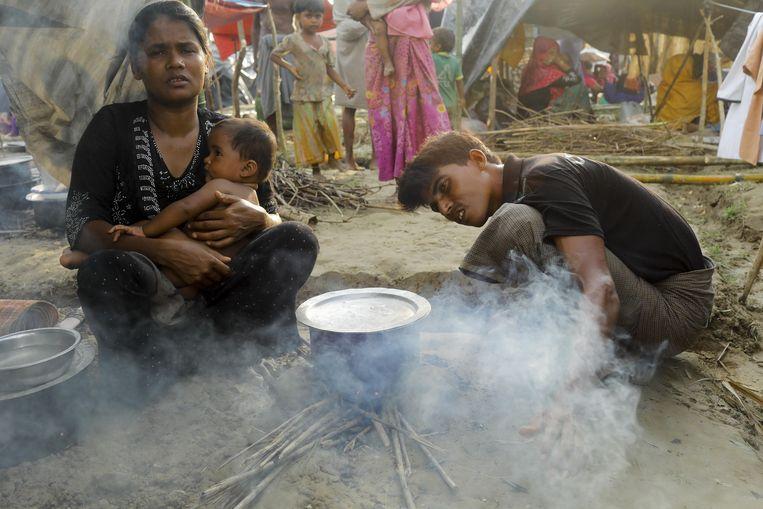 Een vluchtelingenkamp van Rohingya. Beeld AFP