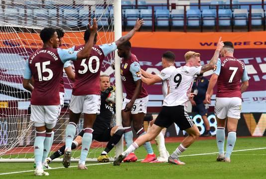 De bal duidelijk over de lijn, maar toch geen goal voor Sheffield United tegen Aston Villa.