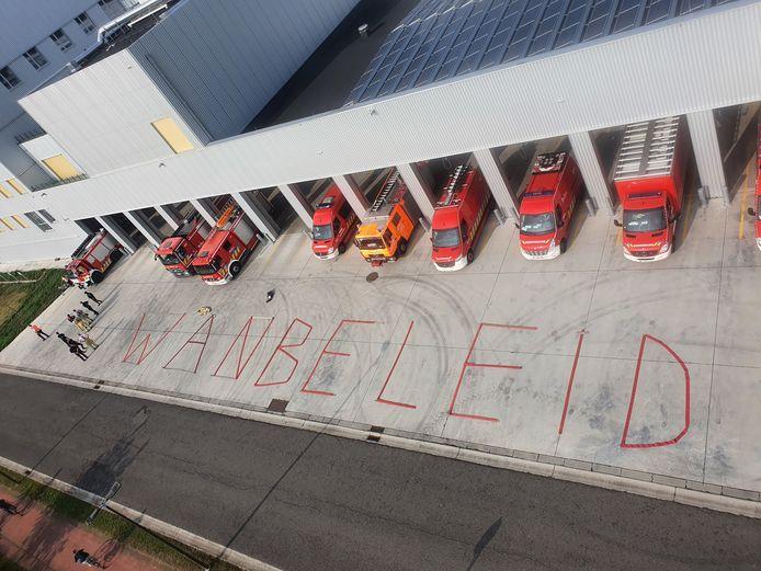 De brandweer in Mechelen hield een protestactie tijdens het WK