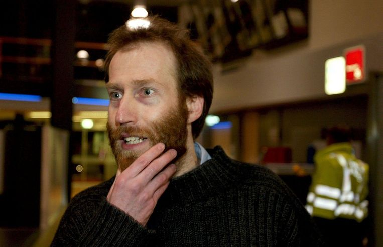 Arjan Erkel in 2004, net weer aangekomen in Nederland na zijn ontvoering. Beeld null