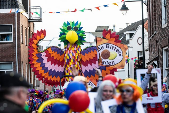 Archiefbeeld van carnavalsoptocht in de straten van Groenlo.