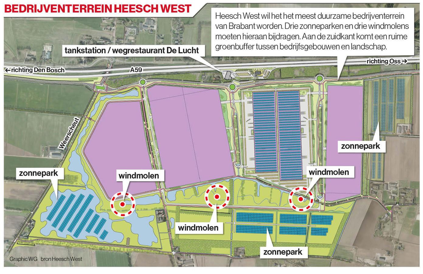 Plattegrond van het toekomstige bedrijventerrein.